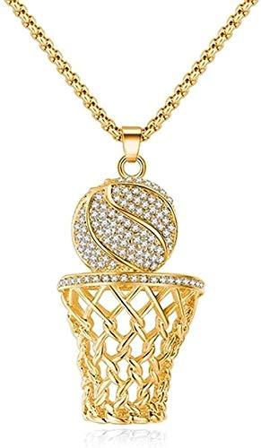 collar hip-hop baloncesto marco hombres collar circón colgante de oro collar de acero hombres baloncesto deportes joyería collar