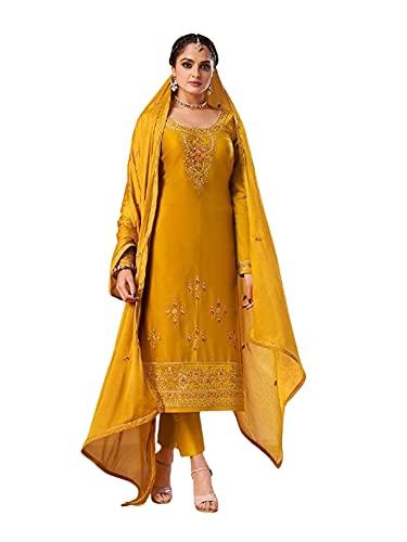 amarillo Punjabi Mermelada de seda Festive Formal Musulmán Churidal Pajami recto Mujer india Salwar kameez 6279 - - XXL