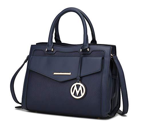 MKF Shoulder Bags for Women – PU Leather Pocketbook Purse, Briefcase Satchel – Crossbody Strap, Top Handle Handbag Alyssa Navy Blue