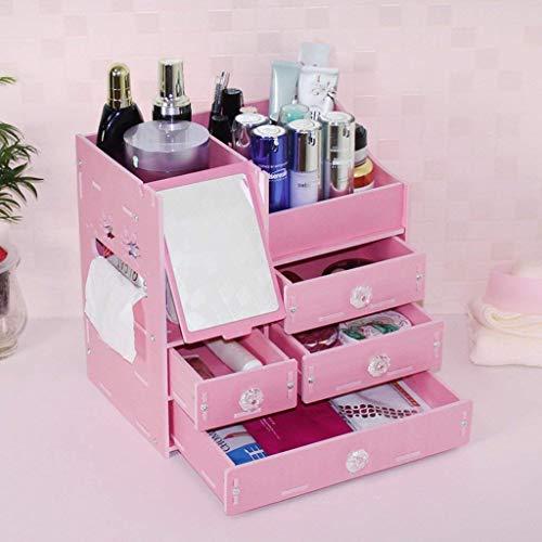 Desktop Cosmetische Opbergdoos Met Spiegel Oversized Koreaanse Lade Dressoir Huidverzorging Plank Badkamer Plank (kleur : Wit)