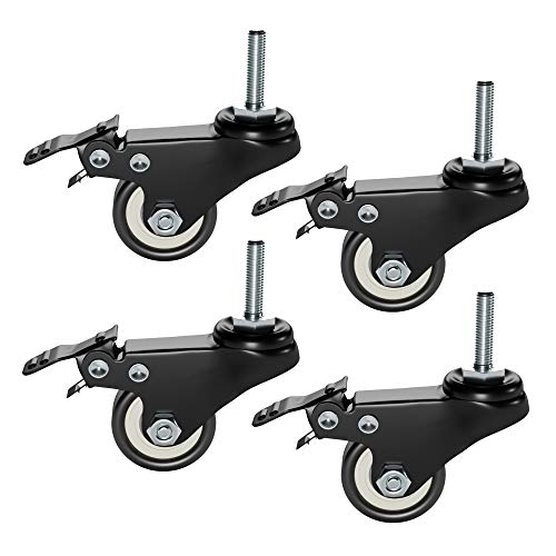 Plixio Piano Keyboard Stand Caster Wheels Set of 4 Replacement Locking Heavy Duty Wheels