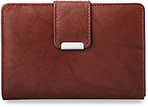 Práctica cartera de piel para mujer, monedero, marrón (negro) - 169