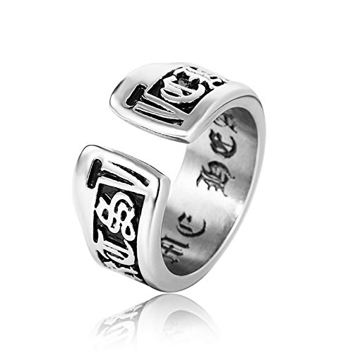 Blisfille Silberring Jugendstil Herr Der Ringe Gotische Schrift Silber Schwarz Ring Gr. 54 (17.2)...