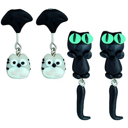 Pendientes animales en 3D x 2 pares (Pack Brujita). Joyería Hecha a Mano en Arcilla de polímero. Pendientes niña y mujeres.