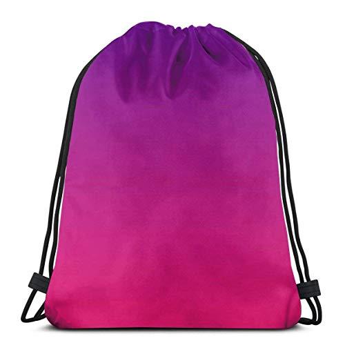 Yuanmeiju Blue and Purple Ombre Wallpaper Magenta to Gradation 3D Print Kordelzug Rucksack Rucksack Shoulder Bags Sporttasche for Adult 16.9'X14'