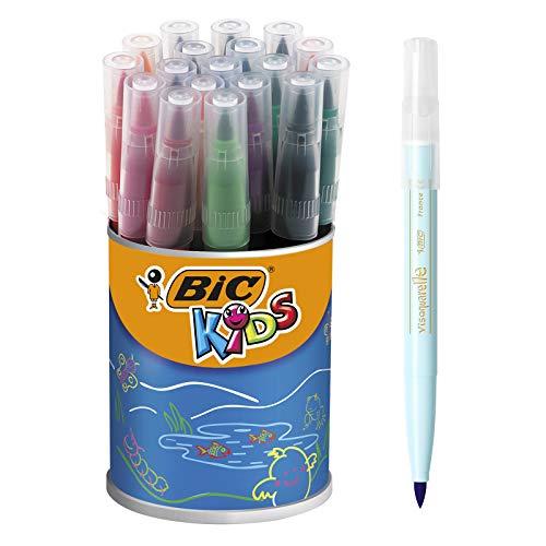 BIC Kids Fasermaler Visaquarelle – Pinsel-Fasermaler mit flexibler Pinselspitze - für Kinder ab 5 Jahren – 1 x 18 Stifte in leuchtenden Farben – In praktischer Box