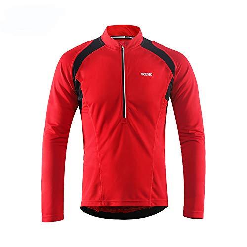Sunbike Herren Radtrikot, langärmelig, atmungsaktiv, Fahrradtrikot, Fahrrad-Top für Fahrrad, Biker, Fahrrad, rot, XX-Large