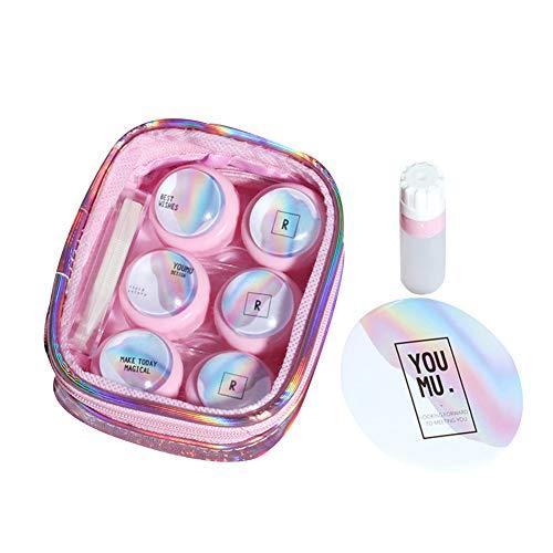WDOIT Aufbewahrungsbox für Kontaktlinsen, unsichtbarer Behälter, mit kleinem Spiegelpinzette, Applikator und Lösungsflasche, Pink, Rose (Pink) - WEGOSJJRSL8Q16WG4218GLR