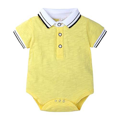 LABIUO Neugeborenes Baby Jungen Gentleman Kurzarm Shirt Atmungsaktiv Baumwolle Knopf Revers Freizeit Spielanzug Babykleidung(Gelb,0-3 Monate)