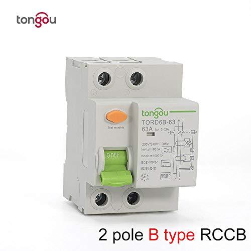 Interruttore di corrente residua 2P 4P 63 Amp Tipo B 10KA RCCB RCD 230V 400V 30mA TORD6B-63-2_Pole_30_mA_40A