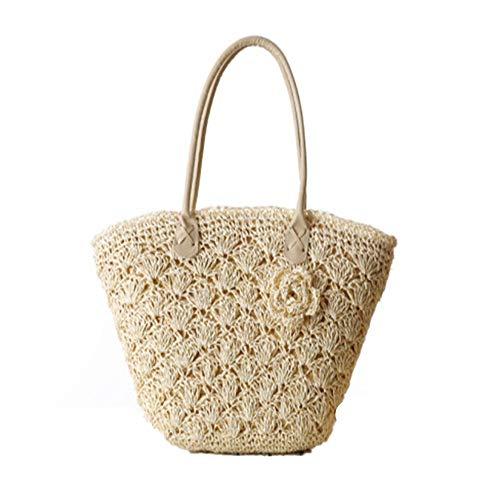 YAzNdom dames strandtas vrouwen een schouder haak bloem zomer geweven tas vakantie Crossbody strand reizen winkelen tote handtas stro tas