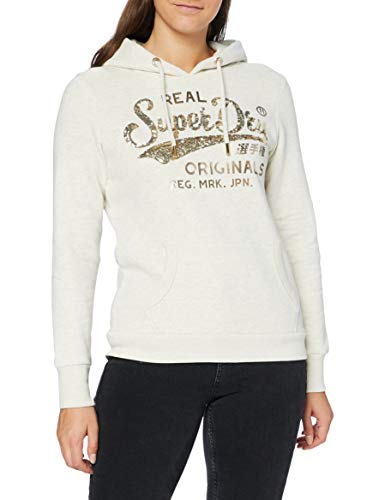 Superdry Womens Script Sequin Hood Hooded Sweatshirt, Oatmeal Marl, L (Herstellergröße:14)