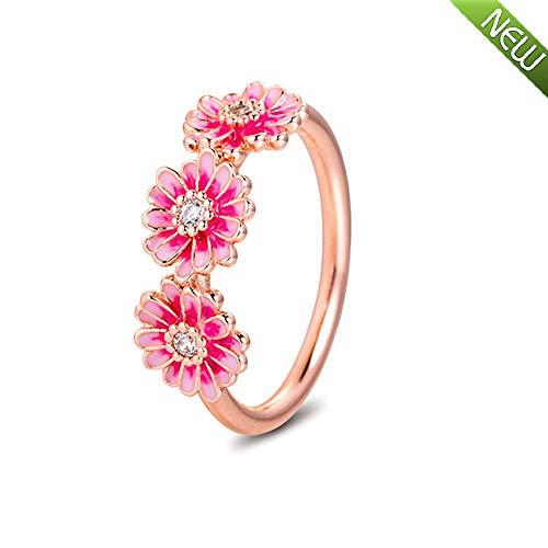 PANDOCCI 2020 Frühling Rosa Gänseblümchen Blume Trio Ringe für Frauen 925 Silber DIY Passend für Original Pandora Armbänder Charme Modeschmuck (54#)