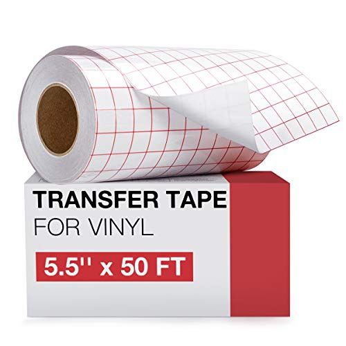 Transfer Tape for Vinyl- 5.5' x 50 FT w/Red Alignment Grid for Cricut Joy and Cricut Adhesive Vinyl, Silhouette Cameo Transfer Paper for Vinyl for Decals,Signs, Windows, Stickers