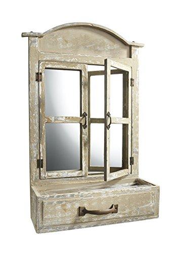 Kobolo Ausgefallenes Deko-Fenster aus Holz mit Spiegel und Einer Schublade zum Bepflanzen