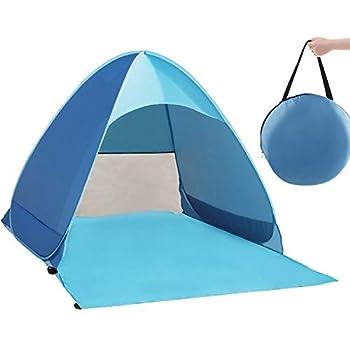 QcoQce Tente Anti UV, Abri de Plage avec Protection Solaire UV UPF 50+ pour 2-3 Personnes,Tente de Plage Instantanée Portable Escamotable, Comprend Un Sac de Transport et des Piquets de Tente, Bleu