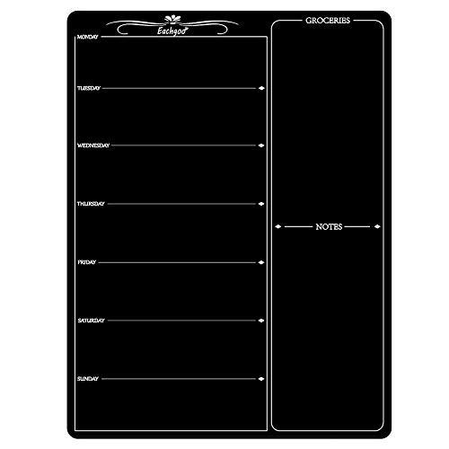 Eachgoo Magnetischer Wochenplaner,Abwischbar Kühlschrank-Kalender Magnettafel, Menü-Planer für Küche Memo oder wöchentliche Einkaufsliste(Schwarz)
