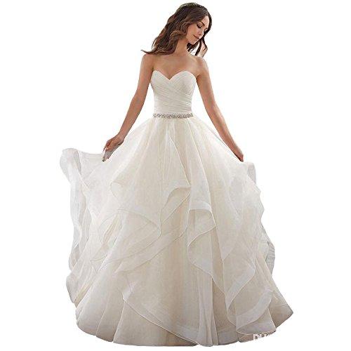 Cloverbridal Elegant Hochzeitskleider Schatz Schnüren Prinzessin Ballkleid Rüschen Weißes Elfenbein Organza Brautkleid