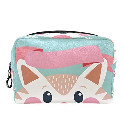 Bolsa de maquillaje cosmético con soporte para cepillo de viaje, bolsa de aseo portátil, monedero con cremallera negra para mujeres y niñas, gato de dibujos animados