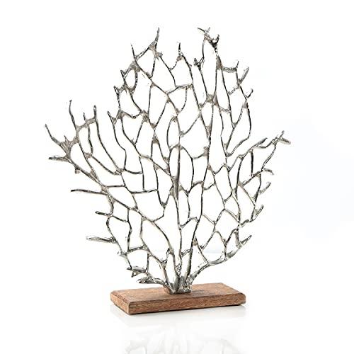 Logbuch-Verlag Maritime - Figura decorativa (metal, base de madera, 41 cm)