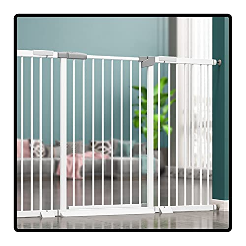QIANDA Barrera Seguridad Niños Protector Escaleras, Easy Walk Thru Puerta del Perro Auto Cerrado Mantener Abierto por Casa Escaleras Sala De Estar, Altura 78cm (Color : White, Size : 104-111cm)