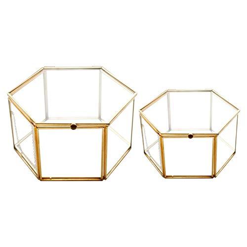 Timagebreze 2 Unids GeoméTrico Vidrio Transparente Joyero