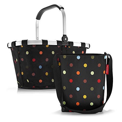 Set aus reisenthel Carrybag BK und reisenthel Shoulderbag HY, Einkaufskorb mit Kleiner Umhängetasche, dots