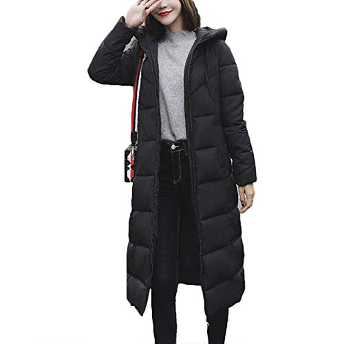 S.CHARMA Womens Winter Coat, Long Sleeve High-Necked Long Warm Down Jacket with Hat for Women Ladies Daily Travel Wear Casual Vintage Stylish Black