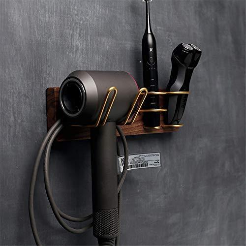 DHTOMC Soporte de Secador Nuez de latón Pelo Tendedero Estante ponche máquina de Afeitar Libre del Soporte del Cepillo de Dientes eléctrico de Madera Holder Baño (Color : Wood, Size : 30×8cm)