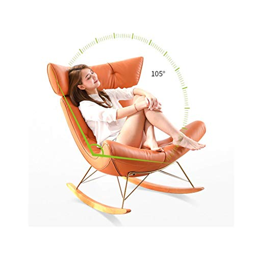 Rocking Chair, Armchair, Soft Upholstered Modern Rocking Chair with Solid Wood Legs, Patio Rocking Chairs Outdoor Padded Steel Rocker Chairs Perfect for Balcony, Garden, Poolside