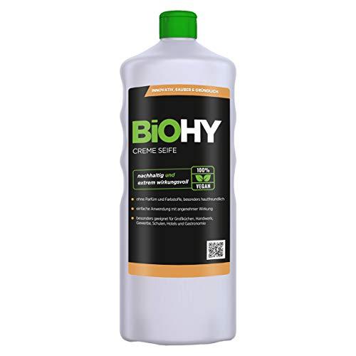 BiOHY Creme Seife (1l Flasche) | Hautschonende, rückfettende und geruchsneutrale Handseife Nachfüller aus dem pflanzlichen Bereich PHOSPHATFREI | Ohne Parfüm und Farbstoffe