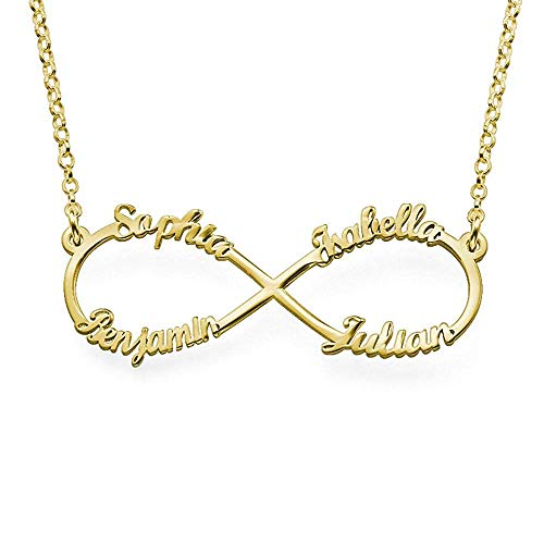 Baebaby 925 Sterling Silver Personalised Infinity Gold Necklace for her...