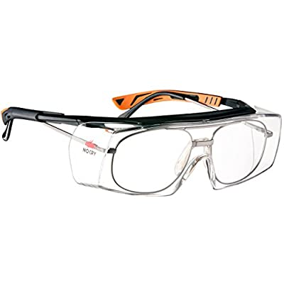 NoCry Over-Glasses Safety Glasses - with Clear Anti-Scratch Wraparound Lenses, Adjustable Arms, Side Shields, UV400 Protection, ANSI Z87 & OSHA Certified (Black & Orange)