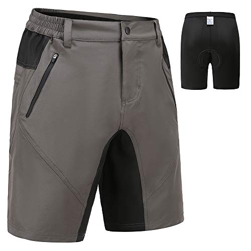 Suyye Mens Cycling Shorts 3D Padded MTB Mountain Bike Shorts Loose-fit