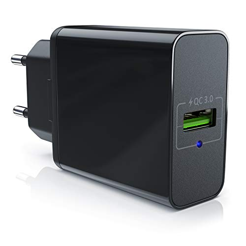aplic - Caricabatterie USB Quick Charge 3.0 QC - Caricatore USB Ultra rapido - Tecnologia Smart Charge e Solid Charge - Adatto a Tutti i telefoni cellulari, Smartphone, Tablets