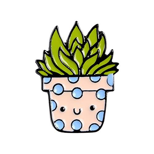 Juego de broches esmaltados, diseño de dibujos animados, plantas, color cactus, emblema vaquero