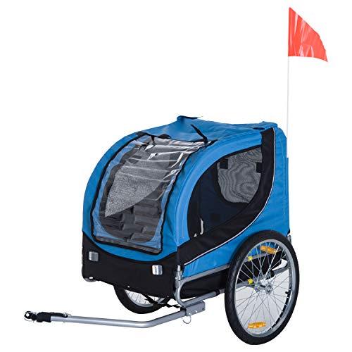 PawHut Carrellino Rimorchio per Cani Animali Domestici da Bicicletta 130 x 73 x 90cm Azzurro e nero