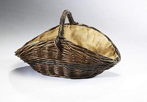 Prinidor panier à bois ovale en osier ovale avec anse et doublure amovible en toile de jute