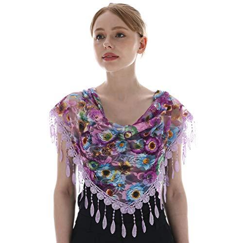 KAVINGKALY triángulo floral de encaje de la franja de la bufanda del abrigo para las mujeres (gris) Triangle Lace Shawl Mantilla Velo Ligero borla bufanda Moda Floral Chales y abrigos para mujeres