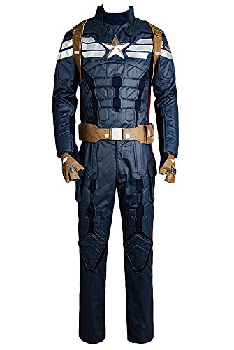 RedJade Captain America 2 The Winter Soldier Steve Rogers Uniforme Outfit Cosplay Costume Uomo XL