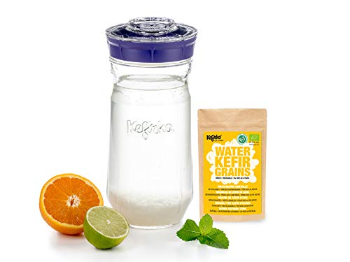 Kefirko Complete Water KEFIR Starter Kit 1400ml Jar with Organic Grains – Make Your own Probiotic Drinks at Home for Good Gut Health and Build Your Immunity. (Purple)