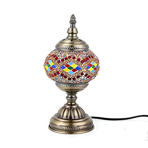 Orientalische Marokkanische Lampe Mosaik Glaslampe Vintage für Schlafzimmer Nachttischlampe Bronze Basis (Gelb)