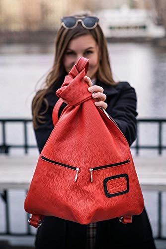 Rosenrot Handsfree Bag Handtasche aus italienischem Leder by Radka Fashion
