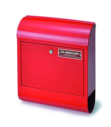 (マーキュリー) MERCURY 郵便 ポスト 赤 壁付け 郵便受け 鍵付き 壁掛け かわいい おしゃれ 新聞 メールボックス 大容量 KEYSTONE キーストーン スチール