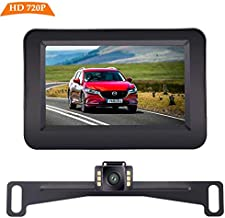 Yakry Backup Camera and Monitor Kit Wire Single Power Supply For Whole System Rear View/Constantly View License Plate Reverse Camera For Car/SUV/Vehicle/Pickup Waterproof Night Vision Guide Lines