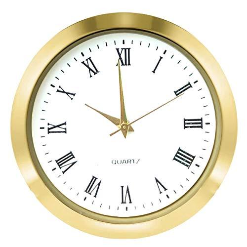 HILLHOME Mini Clock Insert 1.8 Inch (45 mm) Round Quartz Movement Miniature Clock White Dial Gold Tone Bezel Roman Numerals Fit 1.6 Inch (40 mm) Diameter Hole