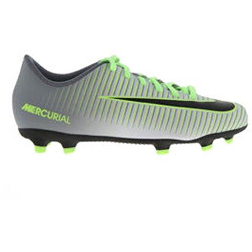 Nike JR Mercurial Vortex III FG, Scarpe da Calcio Bambino, Argento/Platino Puro/Nero/Verde (Ghost Green), 34 EU