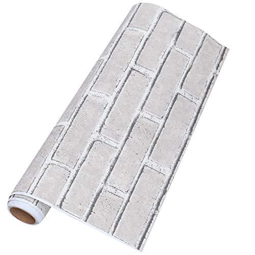 Vosarea Modern Vintage Simulado Ladrillo con textura Pegatinas de pared En relieve 3D Rollos de papel de pared para el dormitorio Sala de estar Sofá TV Fondo (300 * 53cm)