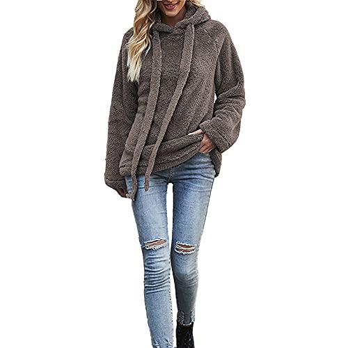 IQYU Damenmode einfarbig plus Fleecejacke dicke warme doppelseitige Fleecejacke Damen Herbst und Winter warme doppelseitige Fleecejacke