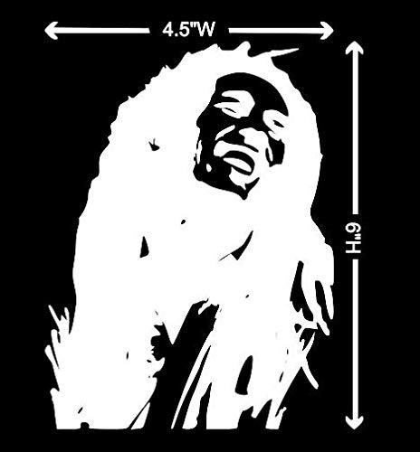 DAI/VDC | (WHITE) Bob Marley Rasta Hippie Laughing WHITE Vinyl Car/Laptop/Window/Wall Decal